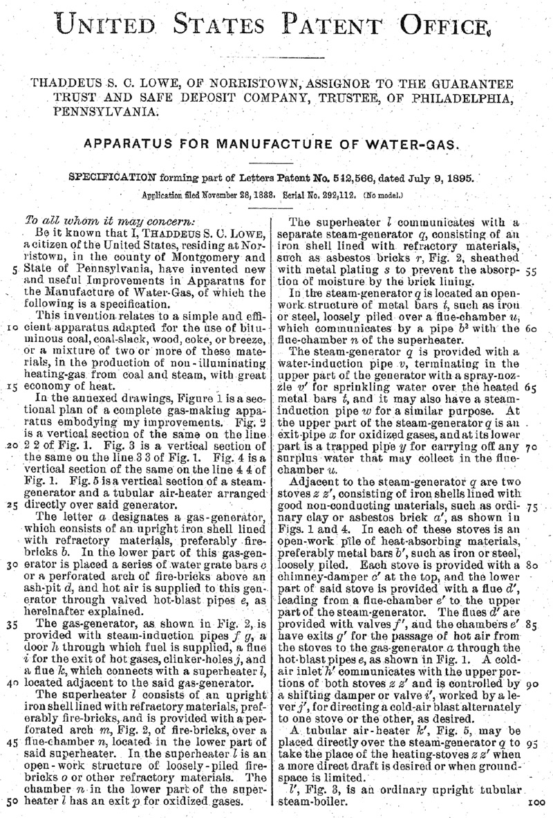 United States patent 542,566 granted to Thaddeus Lowe dated July 9 ...